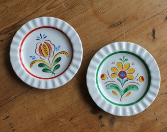 Pair of Arabia Finland Crimped Edge Plates, Floral Pattern Saucers, Nordic Design