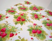 Vintage 1970's All Occasions Gift Wrap Paper | Red Green Wrapping Paper Strawberries Strawberry