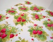 Vintage 1970's All Occasions Gift Wrap | Red Green Strawberries Strawberry Wrapping Paper