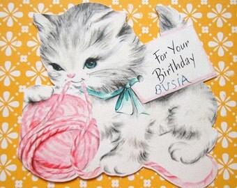 Vintage Hallmark Die Cut Kitten Cat with Pink Yarn Ball Greeting Card