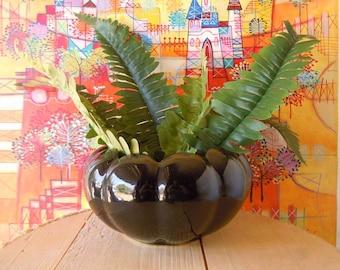 Vintage Black Wide Body Vase   Retro Ceramic Planter   Home Decor