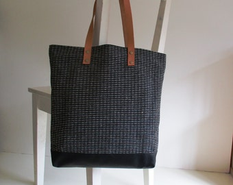 Grey Canvas Tote / Shoulder Bag with Leather Straps and Vegan Leather Bottom