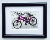 Bicycle illustration, an original framed drawing by Andrea Joseph