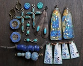 Blue Earring Inspiration Kit. Rustic resin shrines, mix lot assortment.