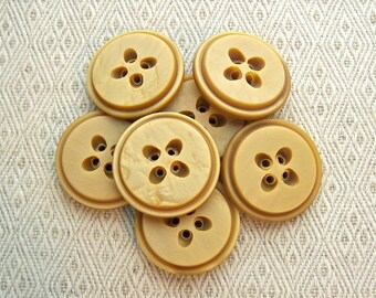 Golden Honey Buttons, 27mm 1-1/8 inch - Mustard Brown Plastic Buttons - 7 VTG NOS Retro Mod Buttons w/ Seed Shaped Sew Thru Holes PL338 bb