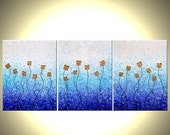 Original Large Abstract Painting Contemporary Impasto Flowers. White Blue GOLD Floral Art 24 x 54 Lafferty. SALE 22% Off
