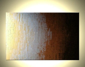 Original Metallic Gold Silver Bronze Abstract Painting, Modern Palette Knife Painting Art By Lafferty - 36x24