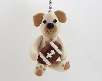 Puppy Dog Fan Pull - Bow Wow Nursery Decor - Sports Fan Pull - Available in any Sport- Childrens Puppy Dog Sports Nursery - Polymer Clay