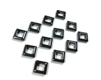 14 mm Non Magnetic Hematite Square Beads Set of 12