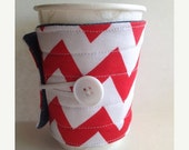 Winter Clearance Fabric coffee cozy / cup sleeve red chevron