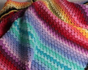 Crochet blanket pattern, Ombre Granny Stripe