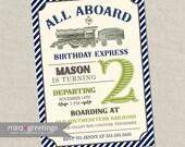 Vintage Train Birthday Party Invitation - All Aboard Train Invite Classic Train Birthday blue and green train (Printable Digital File)