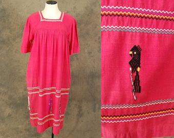 vintage 70s Peasant Dress - Ethnic Guatemalan Dress - 1970s Pink Parrot Embroidered Peasant Dress Sz L XL
