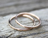 14K Gold Stacking Rings / Solid Gold Skinny Rings, Pink Gold Ring, White Gold Ring, Yellow Gold Ring, Boho Jewelry, Boho Ring, Wedding Band