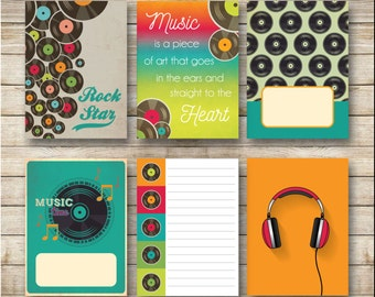 Music Set of 6 Journal Cards / Project Life / Pocket Journal / Simple Stories / Printable - Instant Download