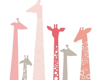 "SHOPWIDE SALE SALE! Over 15% off. 20X24"" giraffes giclee print on fine art paper. pink & taupe brown gray."