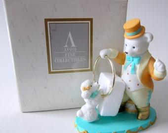 Avon 1993 Pierre the Ringmaster Circus Bear Poodle Dog Fine Porcelain Figurine Silver Ring Hoop Original Box