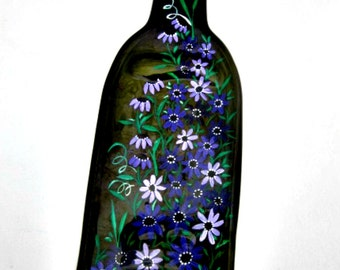 Melted Wine Bottle Serving Tray, Cheese Tray,  Spoon Rest, Kitchen Trivet,  Green Wine Bottle Hand Painted with Shades of Purple Flowers