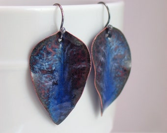 Dark Blue Enameled Earrings, Leaf Shapes with Shades of Blue, Copper Enamel Dangle, Vitreous Enamel & Shaped Metal, Art Jewelry, Ready to go