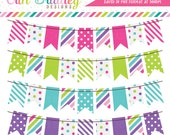 Cotton Candy Colorful Bunting Banner Flag Clipart Clip Art Set Personal & Commercial Use