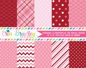 Digital Scrapbook Papers Personal and Commercial Use Pink and Red Holiday Medley Instant Download