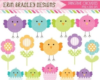 60% OFF SALE Spring Chickadees and Eggs Clip Art Set with Flowers Clipart Commercial Use