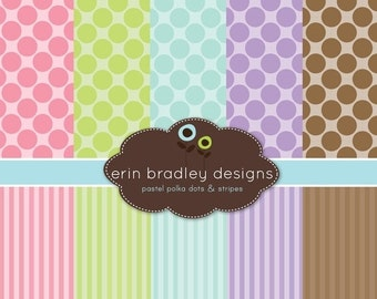 60% OFF SALE Digital Scrapbook Papers Personal and Commercial Use Pastel Polka Dots and Stripes