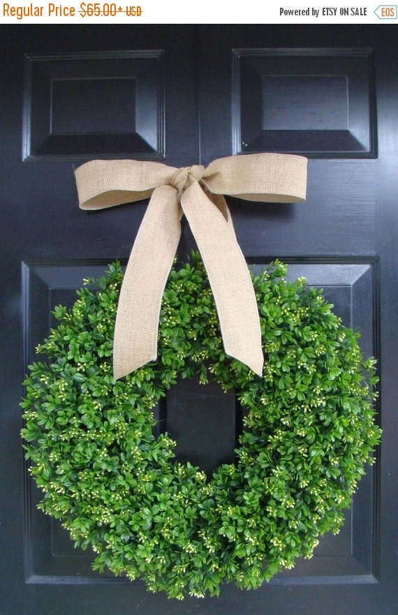 WREATH SALE Spring Boxwood Wreath- Year Round Wreath Decor- Etsy Wreath- Artificial Boxwood Wreath- Burlap Ribbon- Christmas Wreath- Fall Wr