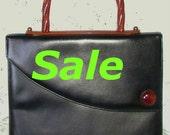 SALE ... Elegant Vintage Black & Rootbeer Lucite Trimmed Handbag