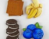 Custom Order for Stefano - Decorative Menu Board Magnets - Graham Cracker, Banana, Oreo, Blueberries - Set of 4