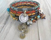 Silk Road Bangle Stack, Tribal Gypsy Bracelet Set, Sari Silk Jewelry, Handmade Colorful Bracelets