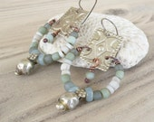 Eclectic Bohemian Earrings, Tribal Gypsy Chandelier Earrings, Pale Colors, Boho Hoops, Handmade Jewelry