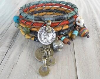 Silk Road Bangle Stack, Tribal Gypsy Bracelet Set, Sari Silk Jewelry, Handmade Colorful Bracelets