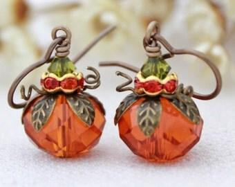Pumpkin Earrings, Fall Theme Jewelry, Halloween Earrings, Holiday Jewelry, Fall Festive Jewelry, Orange Pumpkins, Cute Pumpkin Earrings