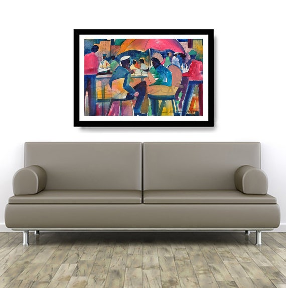 Downtown Dining Watercolor Print African American Art Contemporary Urban Home Decor Wall Black