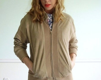 Tenenbaum Suede Vintage 70s Super Soft and Supple Leather and Ribbed Knit Bomber Jacket S/M