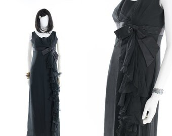 Silk Gown Vintage 1950s Black Silk Crepe Party Dress Ruffle Holiday 30s Style Grecian Gown Medium
