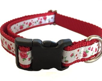 """3/4"""" Red Roses Dog Collar, Martingale, Leash or Harness"""