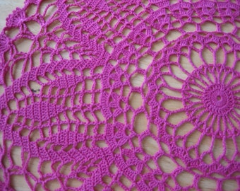 Hand Crochet lace doily, table center,  made by Demet, bright pink/magenta/fuschia very good looking, ships free in the U.S. table center