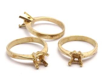 Rhinestone Ring Setting, 6 Raw Brass Ring Settings (17.18.19mm) Mn93