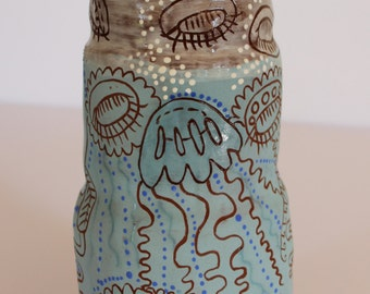 Jellyfish vase, vessel for flowers ceramic handpainted and carved, sgraffito