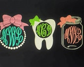 Monogrammed SHORT sleeve T-shirt.  Anchor, whale, mason jar, mouse, pineapple, nurse, tooth, bow, crown, antler, grad cap, baseball, bunny
