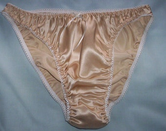 Champagne silk satin panties in UK sizes 8 - 20