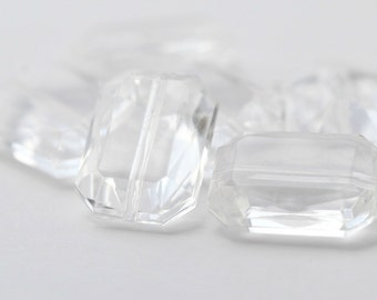 Vintage Lucite Faceted Crystal Rectangle Beads 18mm (8)