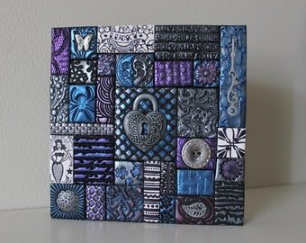 Polymer Clay Tile Mosaic Purple/Blue/Silver 5 x 5 Inch Assemblage Mixed Media