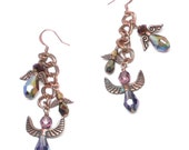 six protection guardian angels copper chain dangle earrings