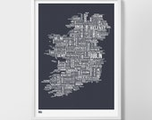 Ireland Type Map, Ireland Screen Print, Ireland Word Map, Ireland Wall Poster, Ireland Font Map, Ireland Wall Art Print, Ireland Art Print