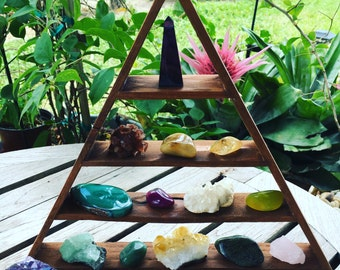 Beautiful Cedar, Triangle Shelf, Pyramid Shelf, Crystal Display, Crystal Shelf, Geometric Shelf, Modern Shelves