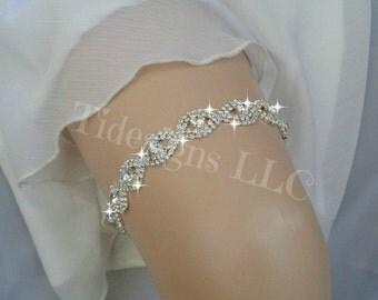 Luxury Garter Set, Wedding Garter Set, Ivory Garter, Rhinestone garter, Modern Garter Set, Crystal Garter Set