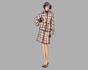 1970s Pants, Jacket, Skirt pattern Vogue 8702, Rare, Bust 34, UNCUT Raglan sleeve jacket, Wide leg pants, A line skirt front kick pleat FF